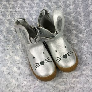 Cat & Jack Estella Silver Bunny Booties Girls 12